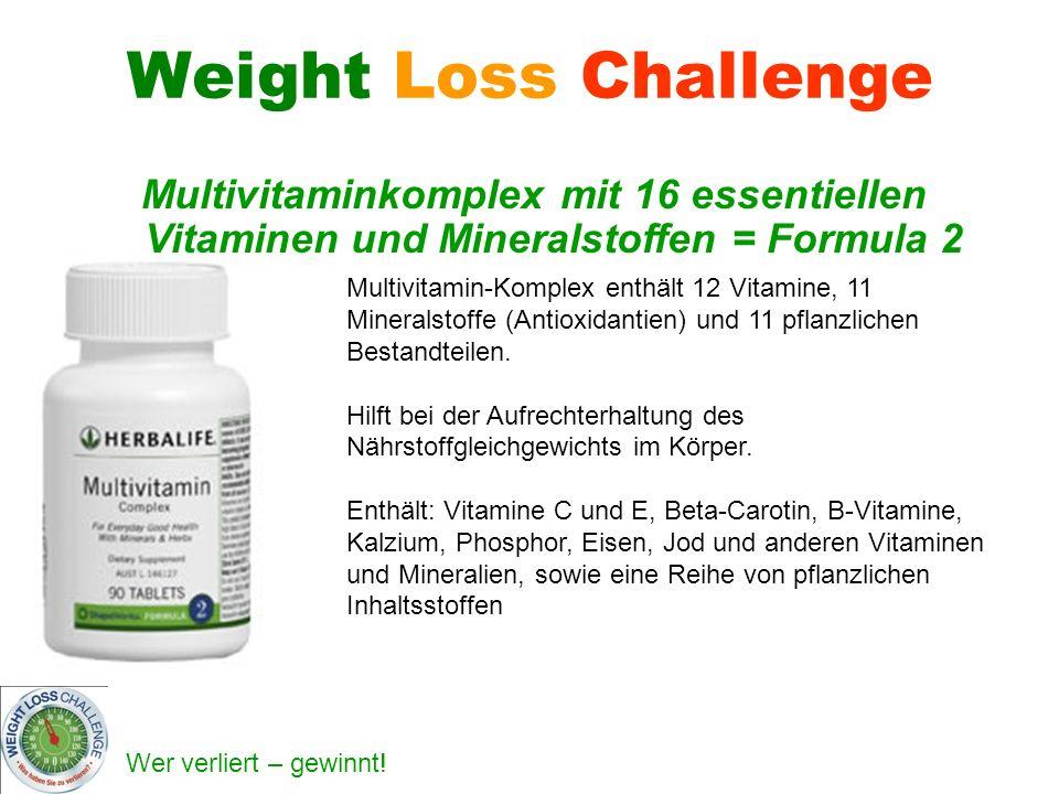 Weight Loss Challenge Multivitaminkomplex mit 16 essentiellen Vitaminen und Mineralstoffen = Formula 2.