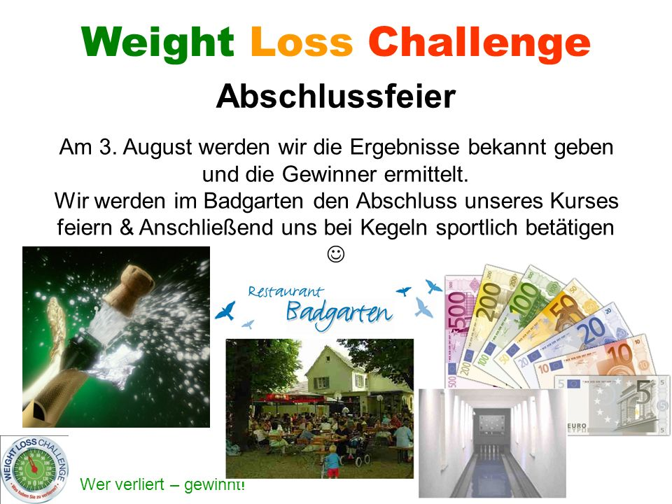Weight Loss Challenge Abschlussfeier