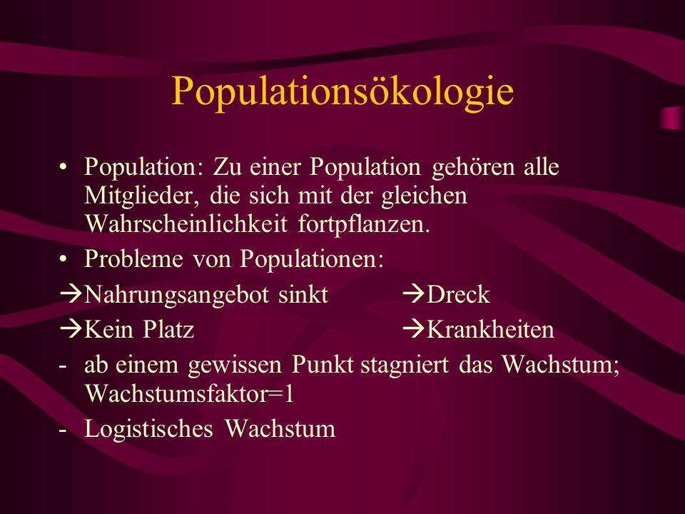 Populationsökologie Population: Zu einer Population gehören alle Mitglieder, die sich mit der gleichen Wahrscheinlichkeit fortpflanzen.
