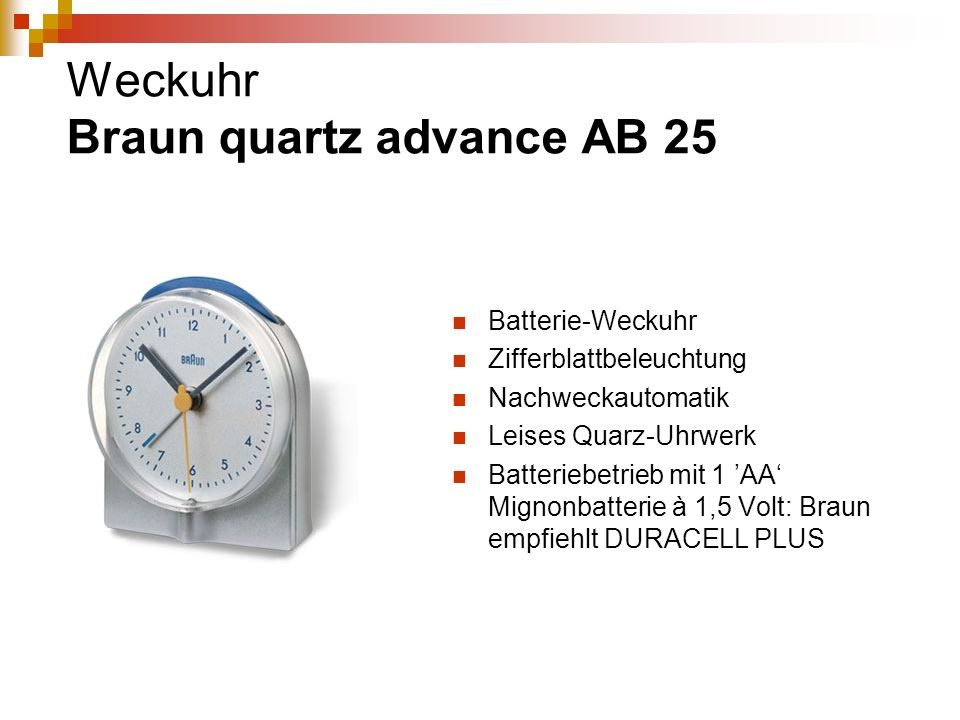 Weckuhr Braun quartz advance AB 25