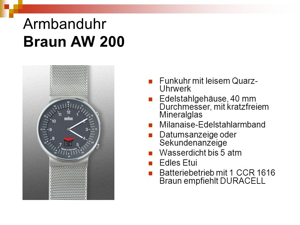 Armbanduhr Braun AW 200 Funkuhr mit leisem Quarz-Uhrwerk