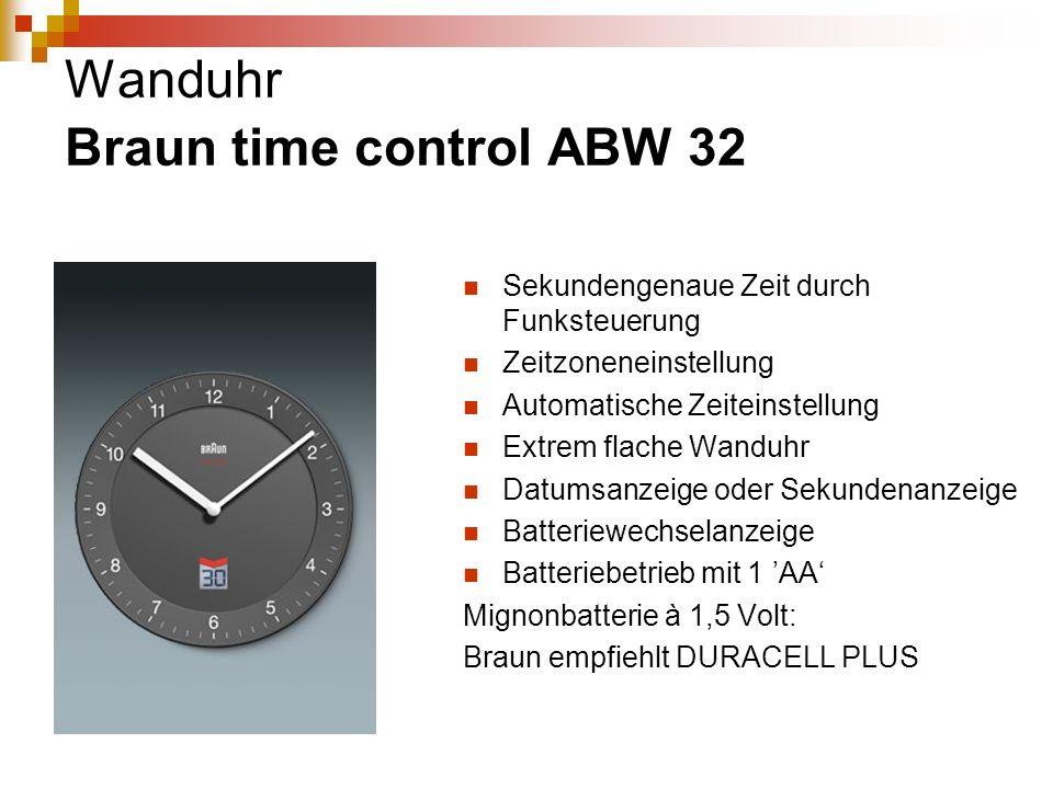 Wanduhr Braun time control ABW 32