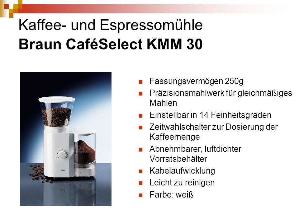 Kaffee- und Espressomühle Braun CaféSelect KMM 30