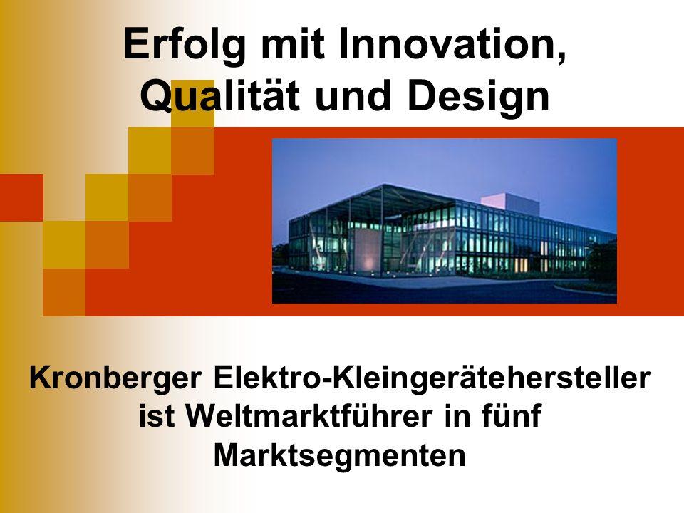Erfolg mit Innovation, Qualität und Design