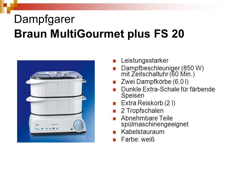 Dampfgarer Braun MultiGourmet plus FS 20