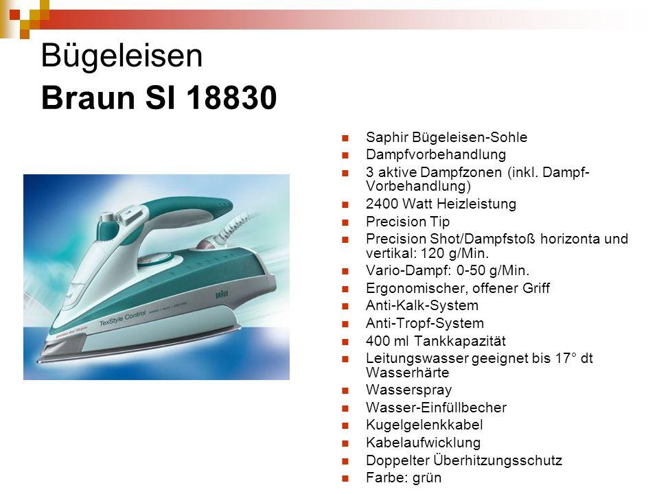 Bügeleisen Braun SI 18830 Saphir Bügeleisen-Sohle Dampfvorbehandlung