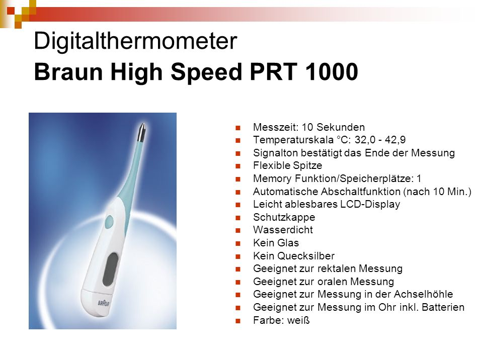 Digitalthermometer Braun High Speed PRT 1000
