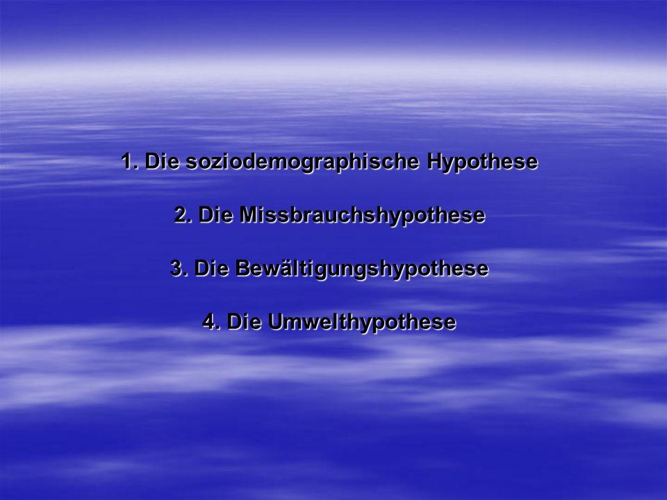 1. Die soziodemographische Hypothese 2. Die Missbrauchshypothese 3
