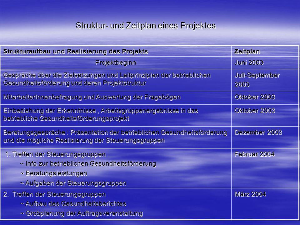 Struktur- und Zeitplan eines Projektes