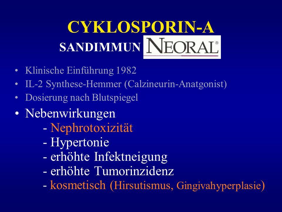 CYKLOSPORIN-ASANDIMMUN. Klinische Einführung 1982. IL-2 Synthese-Hemmer (Calzineurin-Anatgonist) Dosierung nach Blutspiegel.
