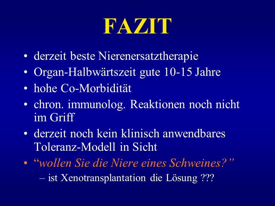 FAZIT derzeit beste Nierenersatztherapie