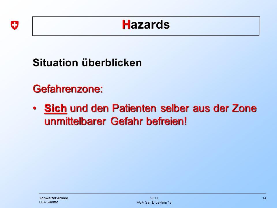 Hazards Situation überblicken Gefahrenzone: