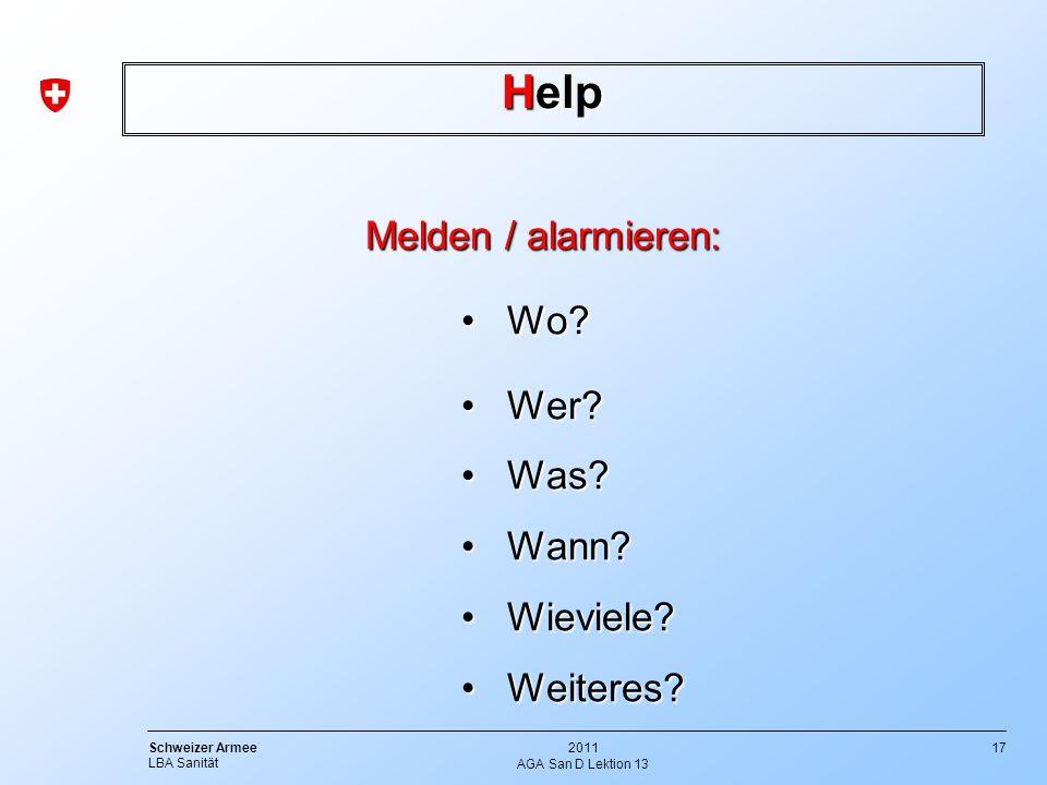 Help Melden / alarmieren: Wo Wer Was Wann Wieviele Weiteres