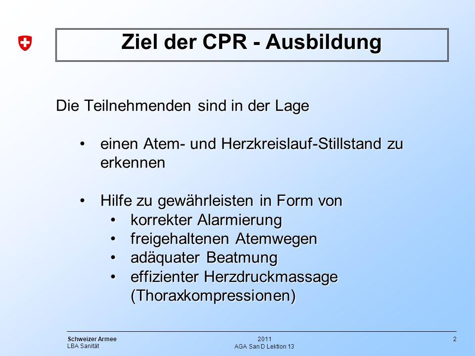 Ziel der CPR - Ausbildung