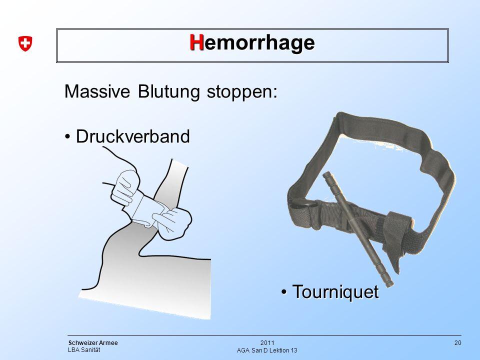 Hemorrhage Massive Blutung stoppen: Druckverband Tourniquet