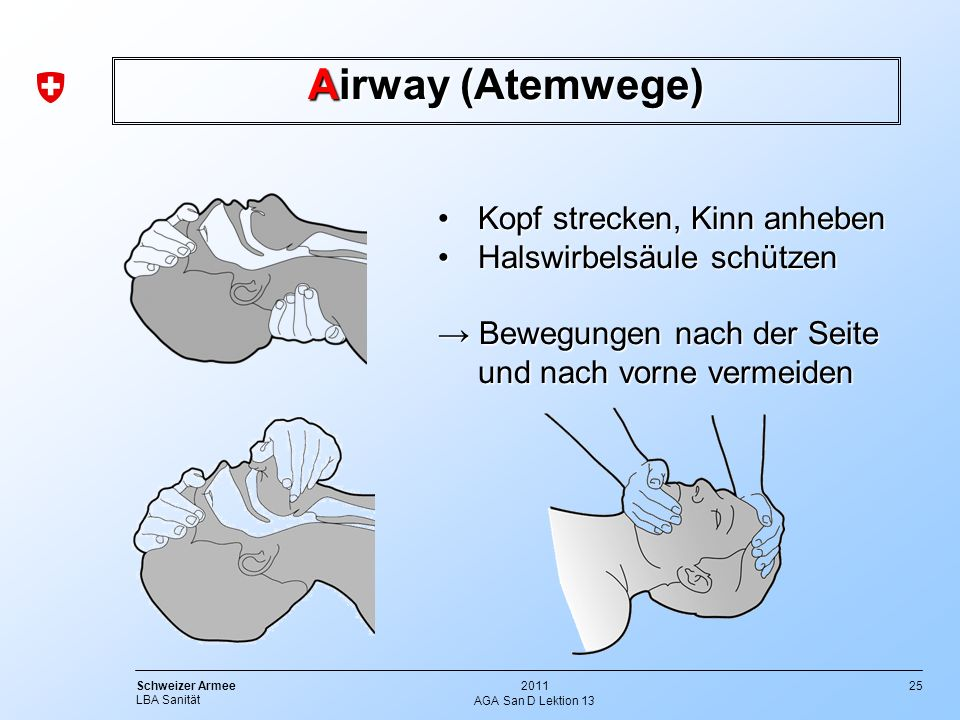 Airway (Atemwege) Kopf strecken, Kinn anheben Halswirbelsäule schützen