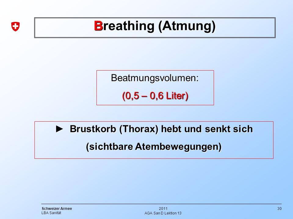 ► Brustkorb (Thorax) hebt und senkt sich (sichtbare Atembewegungen)