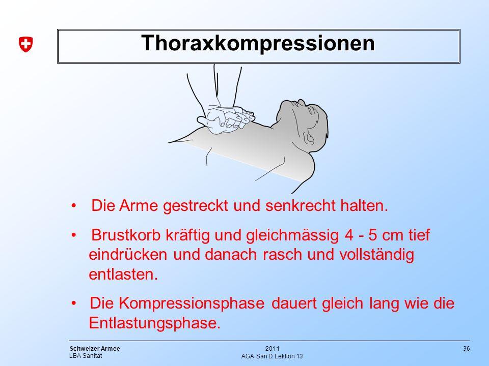 Thoraxkompressionen Die Arme gestreckt und senkrecht halten.
