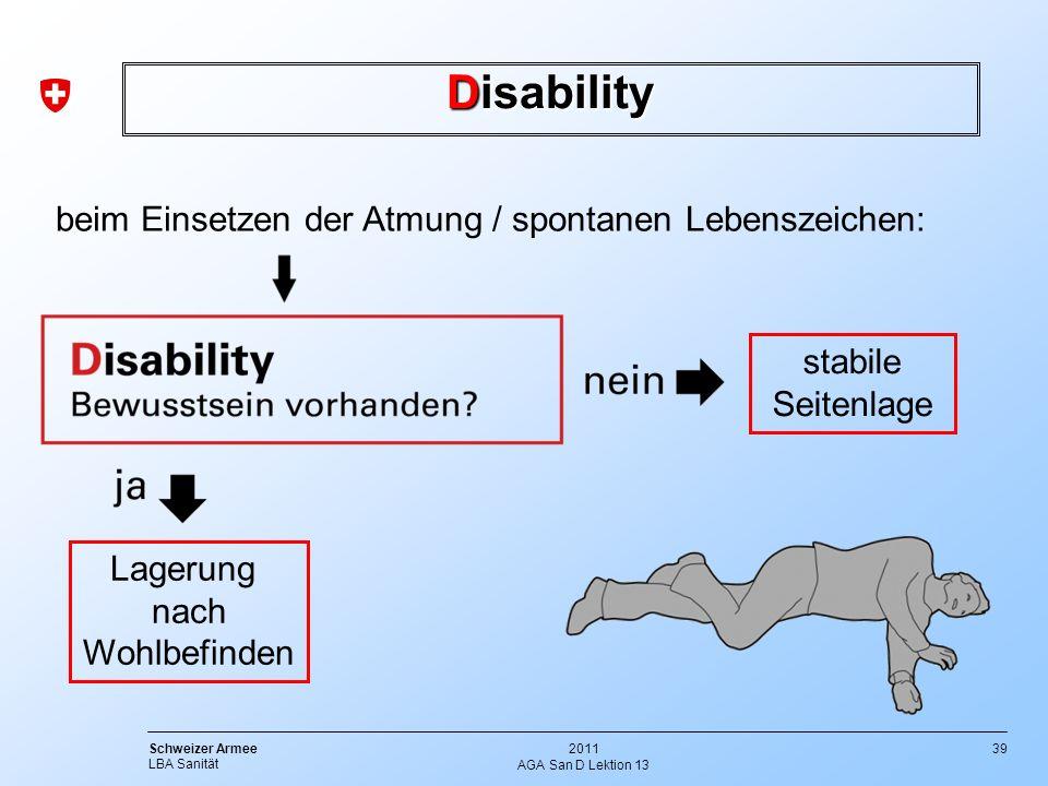 Disability beim Einsetzen der Atmung / spontanen Lebenszeichen: