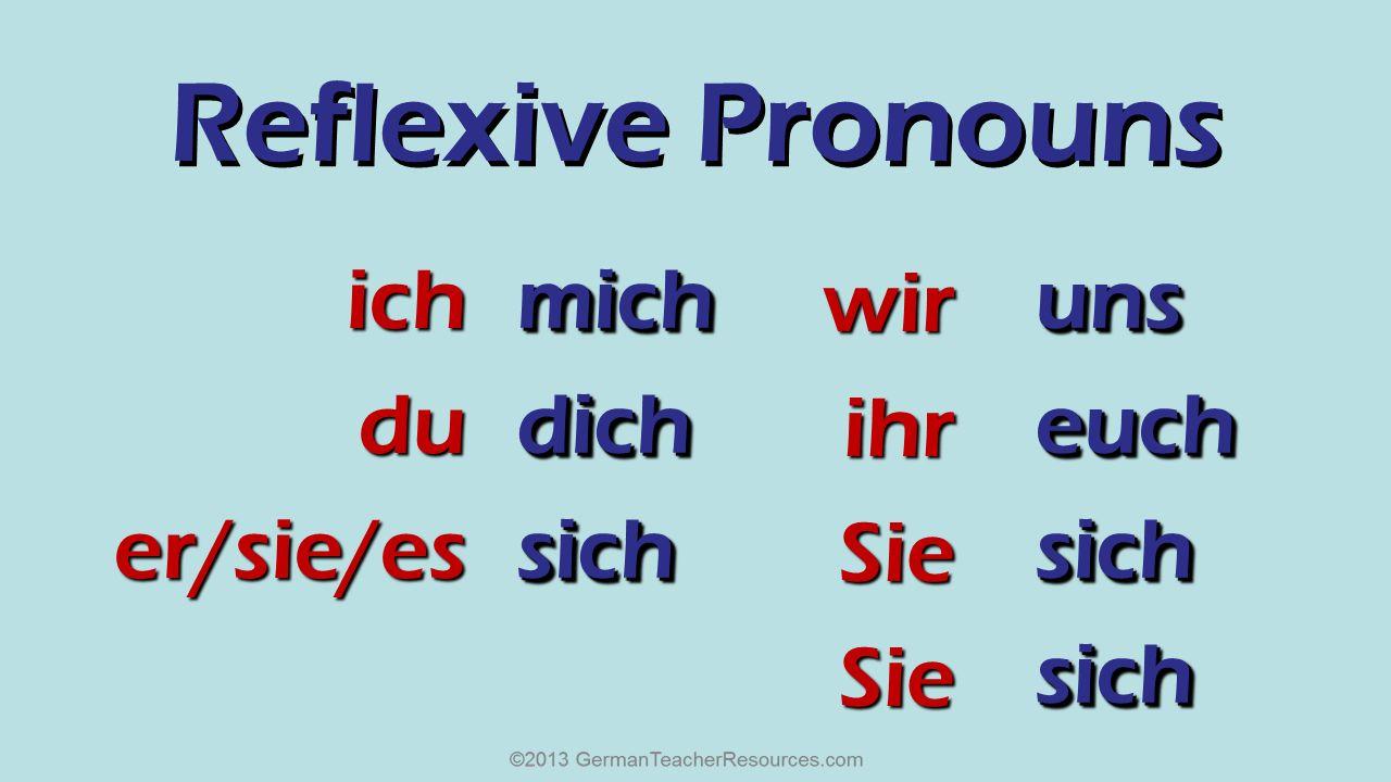 Reflexive Pronouns ich du er/sie/es mich dich sich wir ihr Sie uns