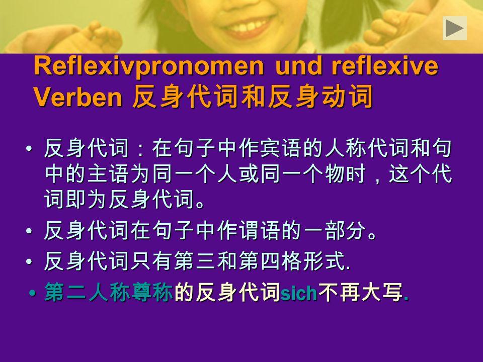 Reflexivpronomen und reflexive Verben 反身代词和反身动词