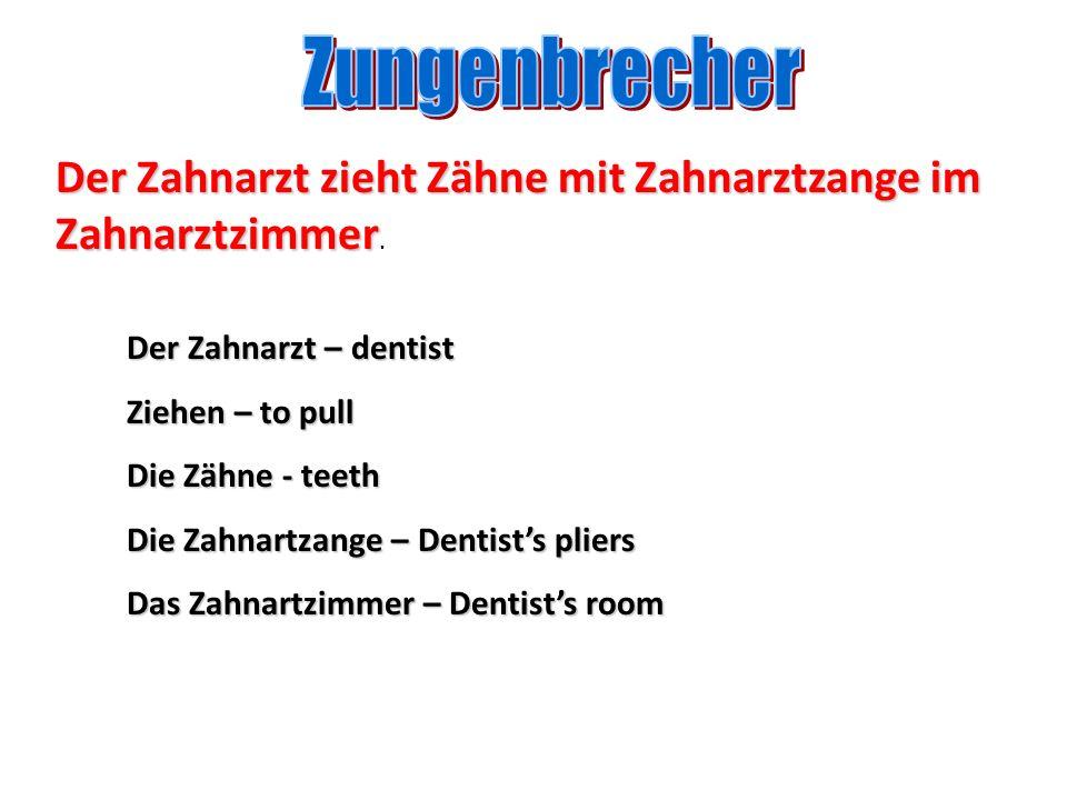 Zungenbrecher Der Zahnarzt zieht Zähne mit Zahnarztzange im Zahnarztzimmer. Der Zahnarzt – dentist.