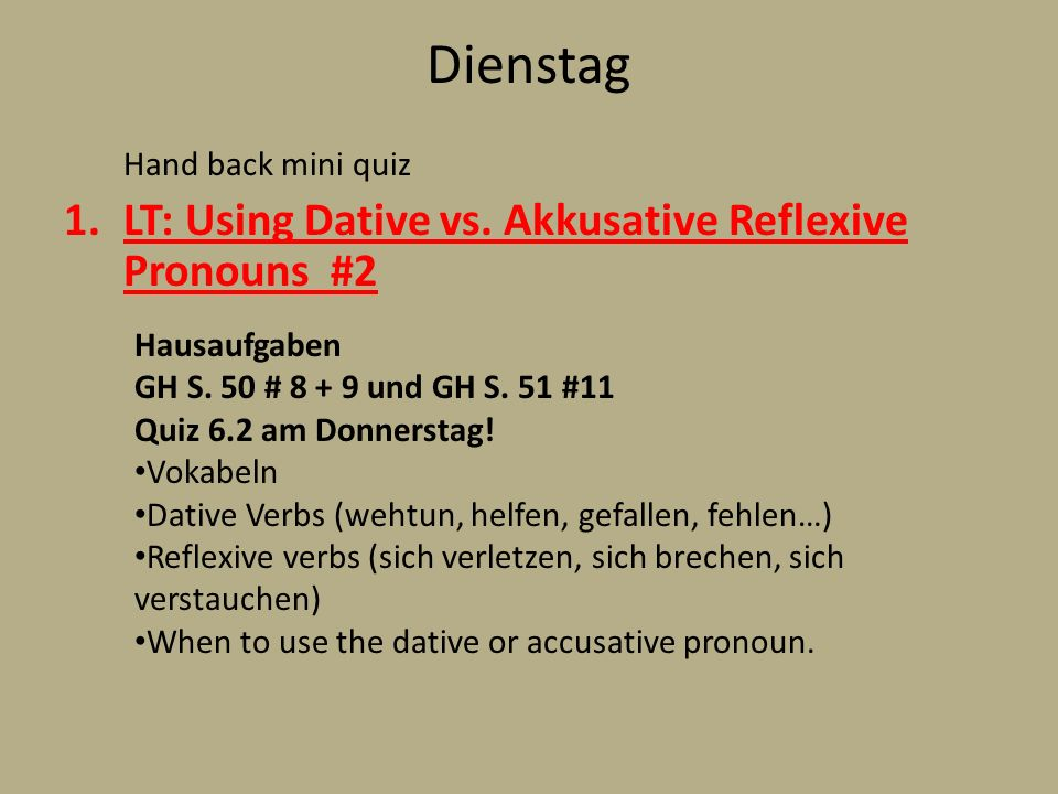 Dienstag LT: Using Dative vs. Akkusative Reflexive Pronouns #2