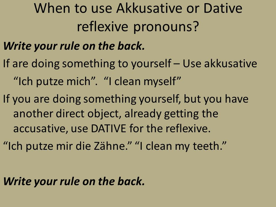 When to use Akkusative or Dative reflexive pronouns