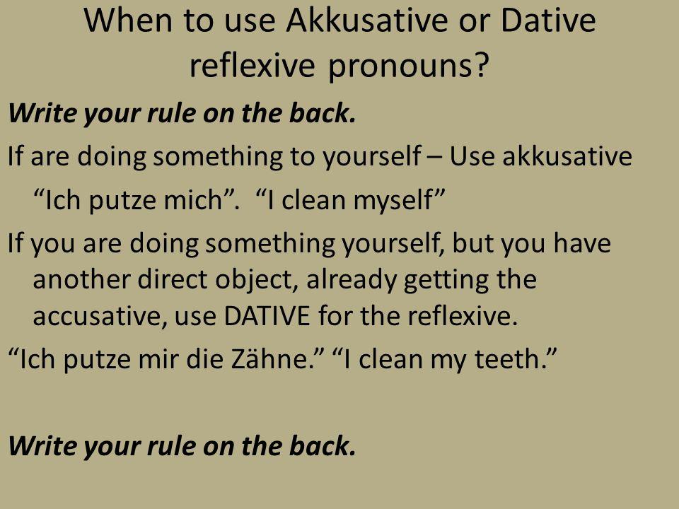 When to use Akkusative or Dative reflexive pronouns