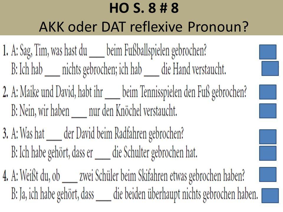 HO S. 8 # 8 AKK oder DAT reflexive Pronoun