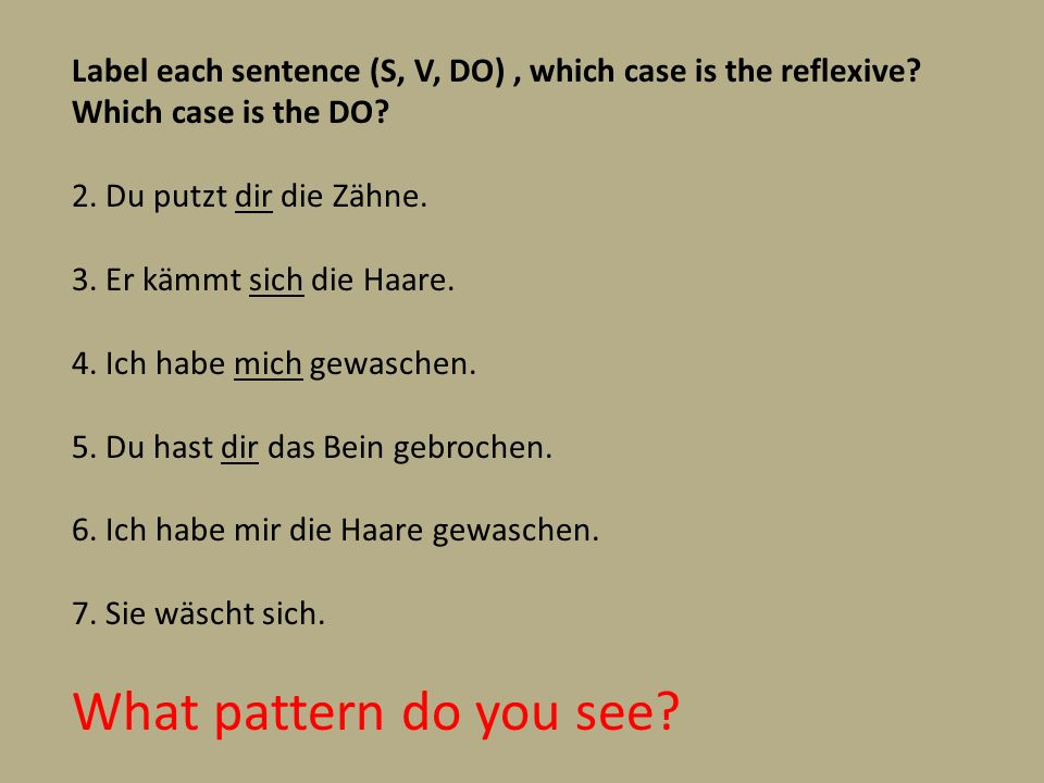 Label each sentence (S, V, DO) , which case is the reflexive