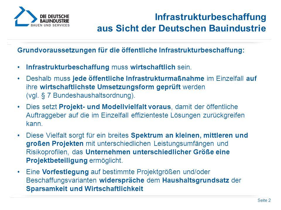 Infrastrukturbeschaffung aus Sicht der Deutschen Bauindustrie