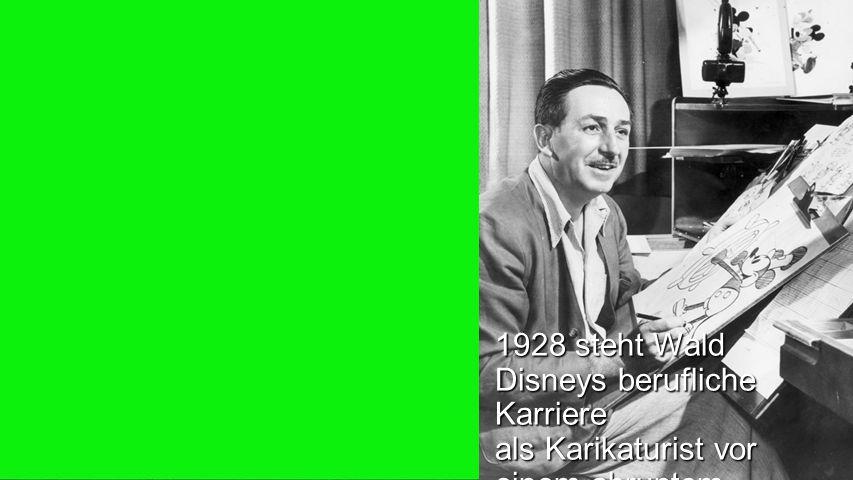Seiteneinblender1928 steht Wald Disneys berufliche Karriere als Karikaturist vor einem abruptem Ende.