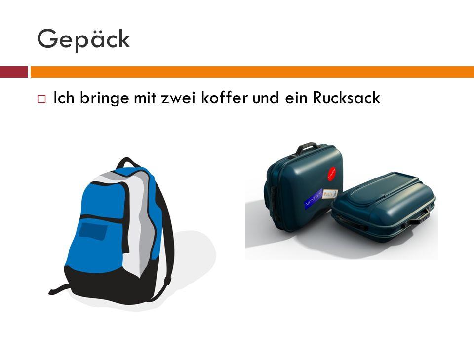 Gepäck Ich bringe mit zwei koffer und ein Rucksack
