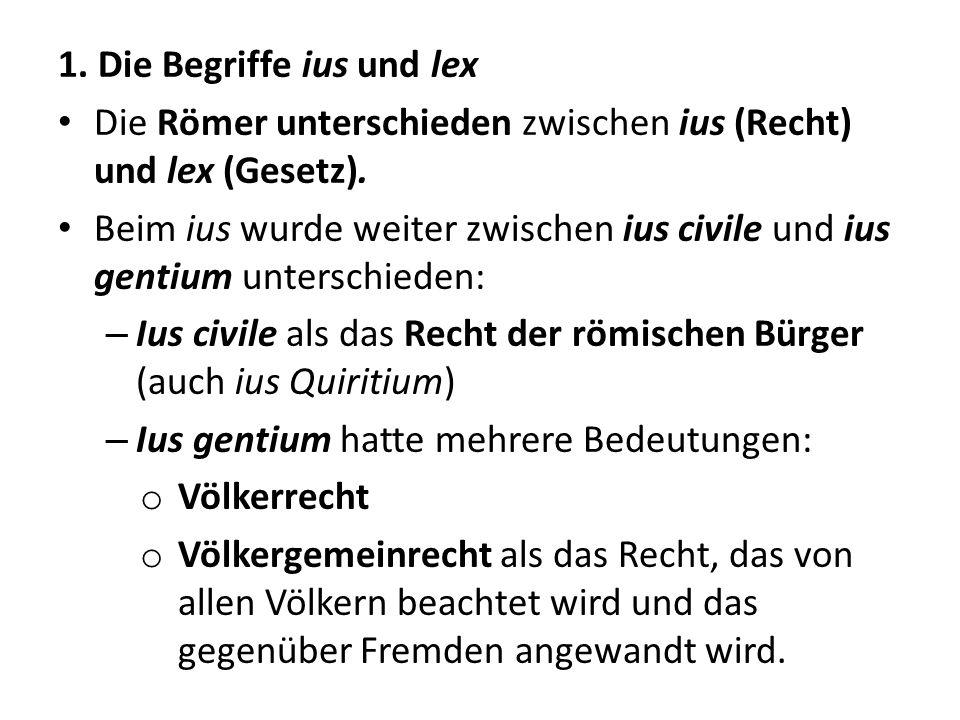 1. Die Begriffe ius und lex