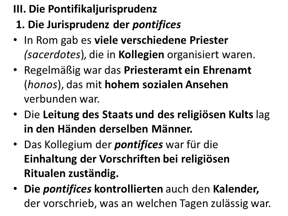 III. Die Pontifikaljurisprudenz