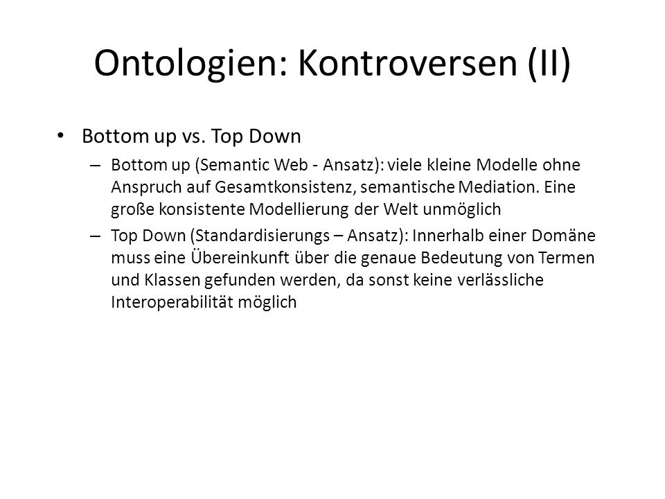 Ontologien: Kontroversen (II)