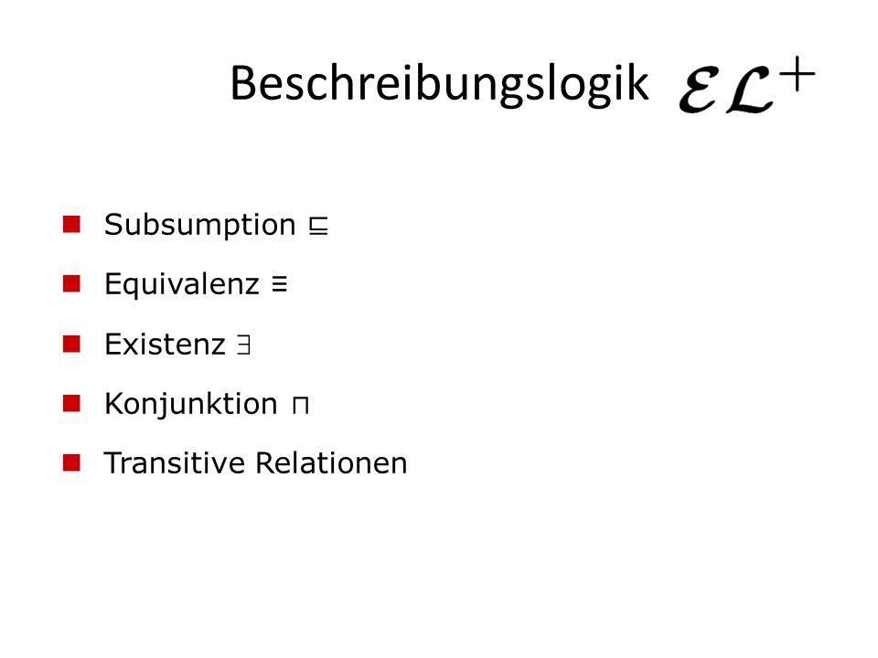 Beschreibungslogik Subsumption ⊑ Equivalenz ≡ Existenz  Konjunktion ⊓