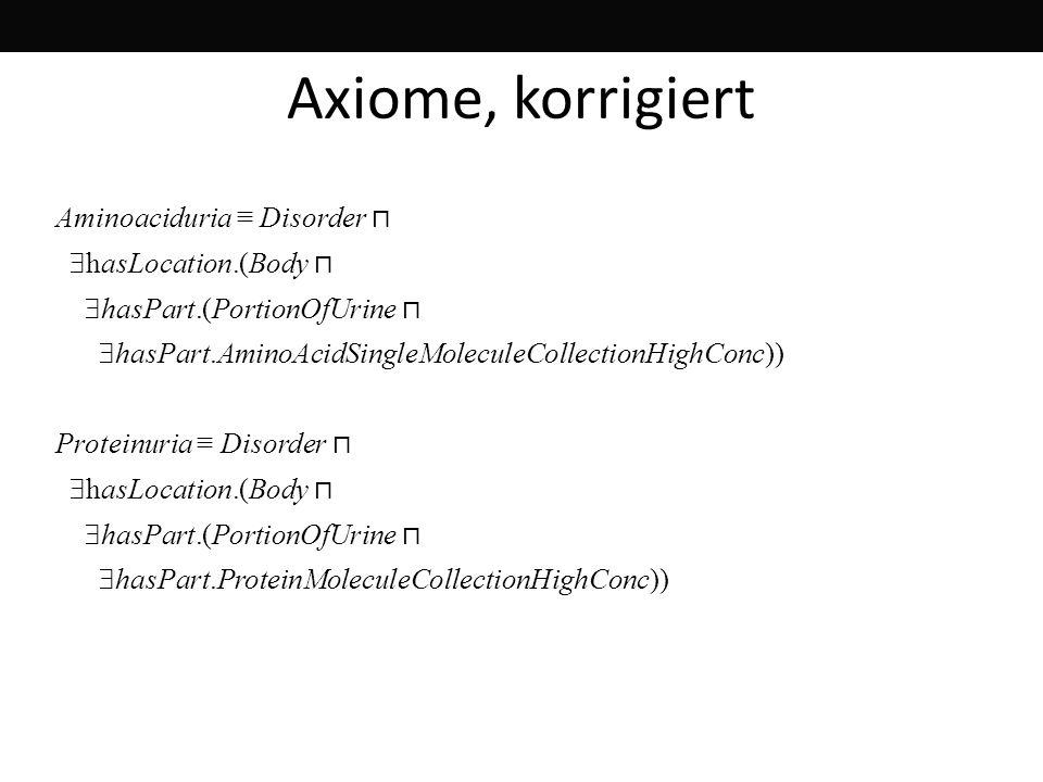 Axiome, korrigiert Aminoaciduria ≡ Disorder ⊓ hasLocation.(Body ⊓