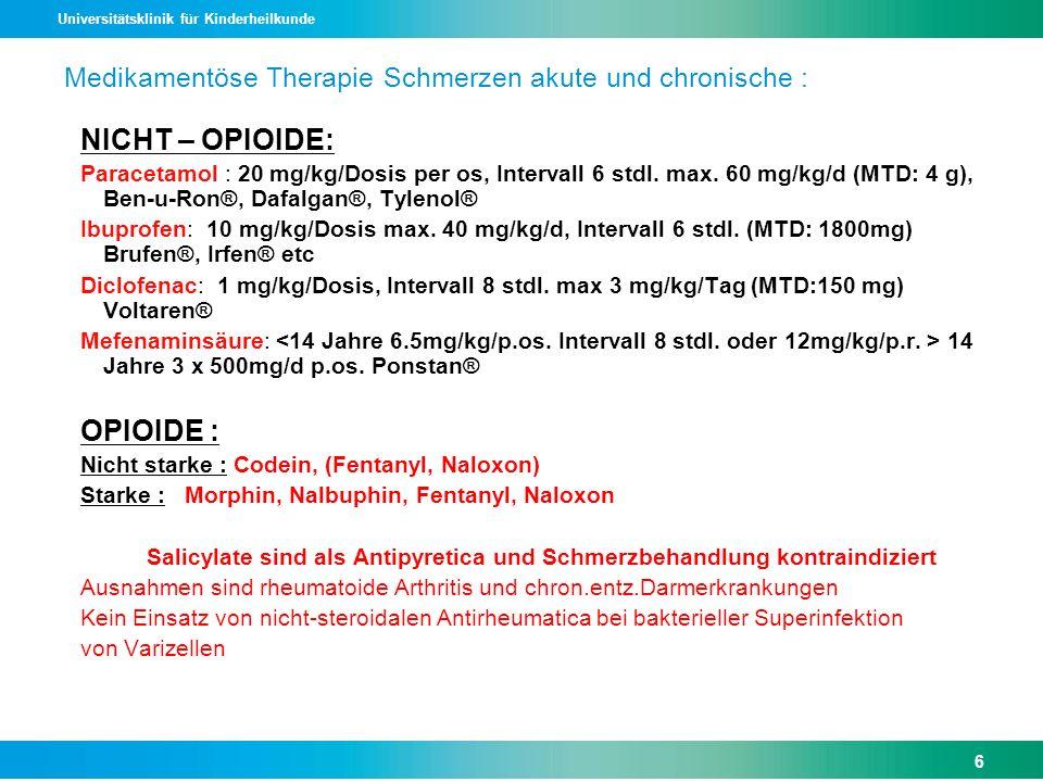 Medikamentöse Therapie Schmerzen akute und chronische :