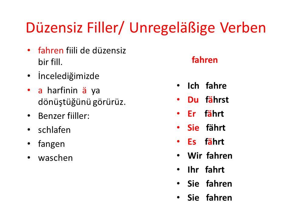 Düzensiz Filler/ Unregeläßige Verben