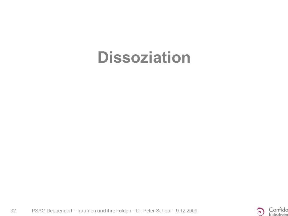 Dissoziation PSAG Deggendorf – Traumen und ihre Folgen – Dr. Peter Schopf – 9.12.2009