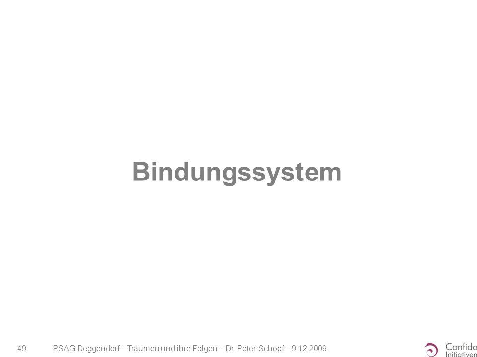 Bindungssystem PSAG Deggendorf – Traumen und ihre Folgen – Dr. Peter Schopf – 9.12.2009