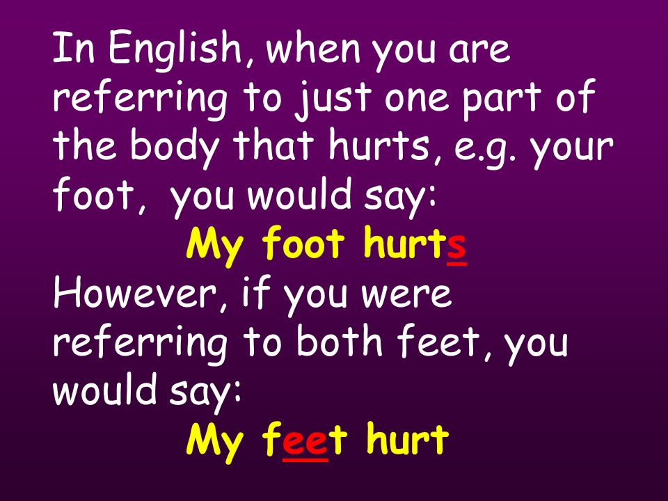 In English, when you are referring to just one part of the body that hurts, e.g.
