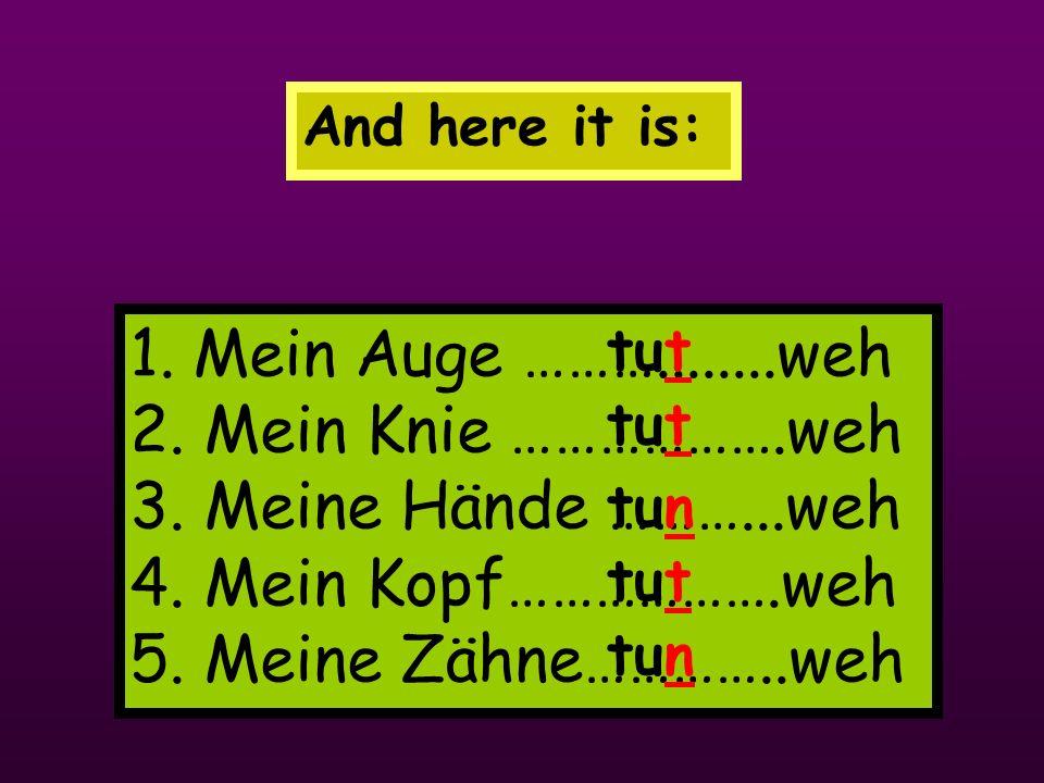 And here it is: 1. Mein Auge ………........weh 2. Mein Knie ……………….weh 3. Meine Hände ………...weh 4. Mein Kopf……………….weh 5. Meine Zähne…………..weh.