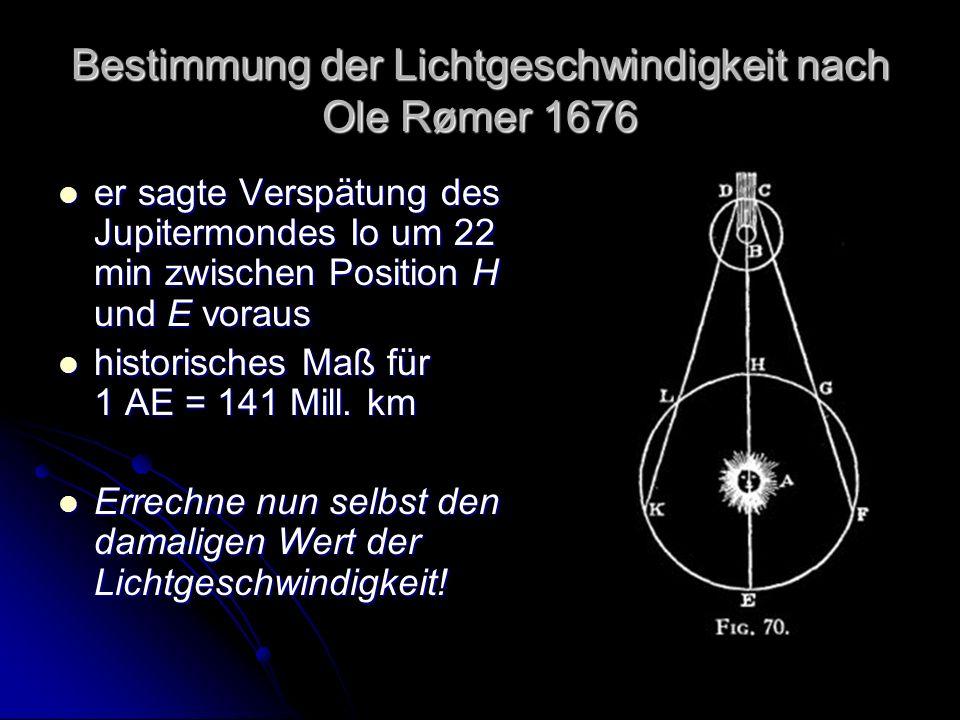 Bestimmung der Lichtgeschwindigkeit nach Ole Rømer 1676