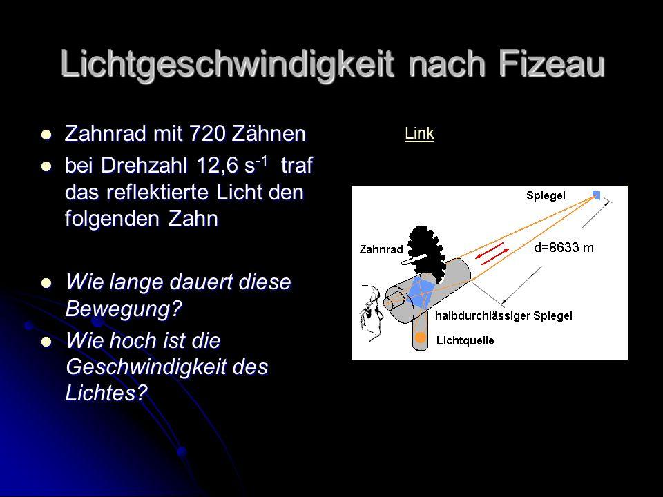 Lichtgeschwindigkeit nach Fizeau