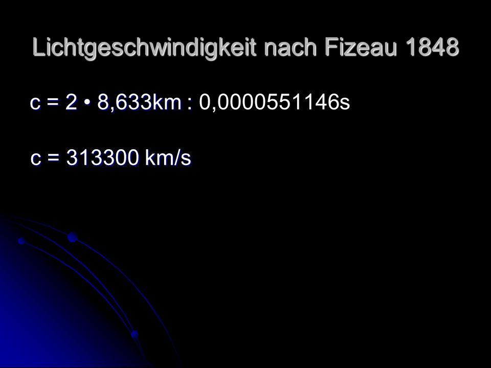 Lichtgeschwindigkeit nach Fizeau 1848