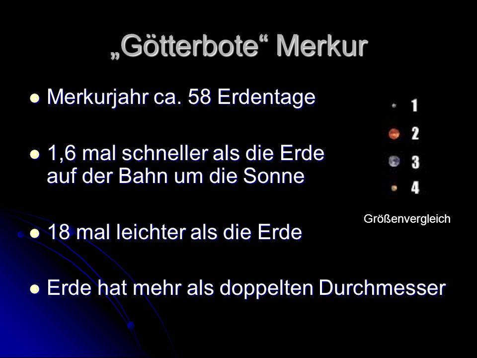 """""""Götterbote Merkur Merkurjahr ca. 58 Erdentage"""
