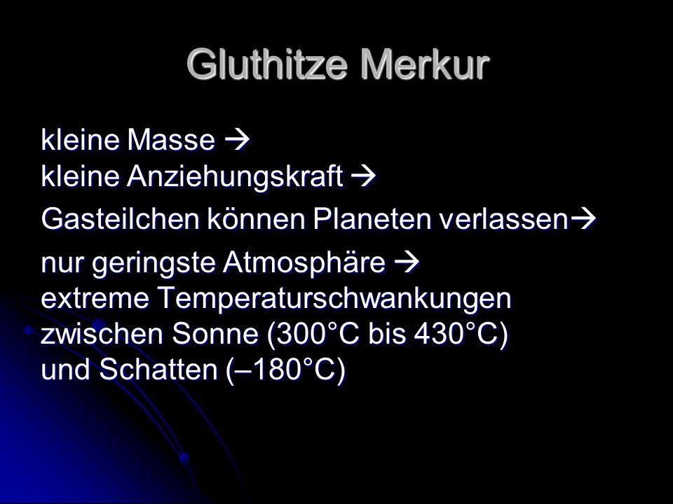 Gluthitze Merkur kleine Masse  kleine Anziehungskraft 